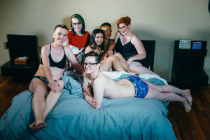 Group shot of all six LGBTQIA models from the photoshoot